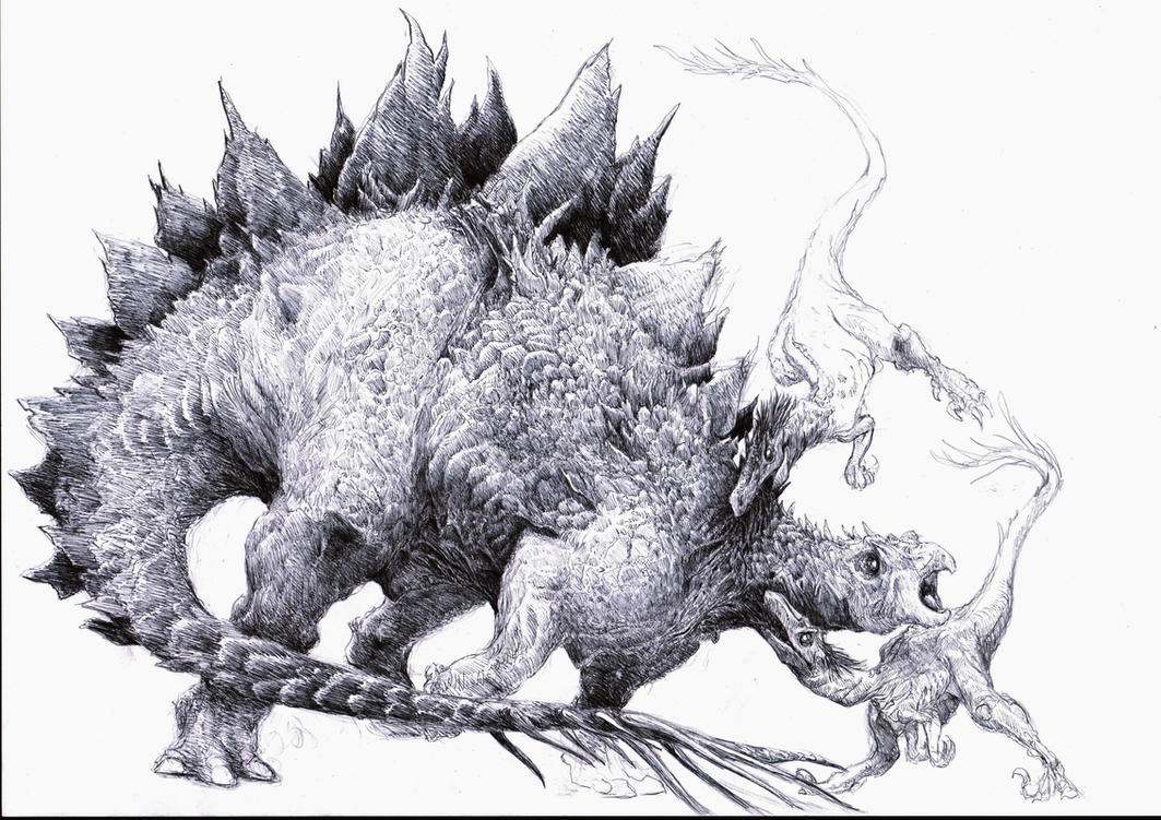 Stegosaurus and raptors by Zombiraptor