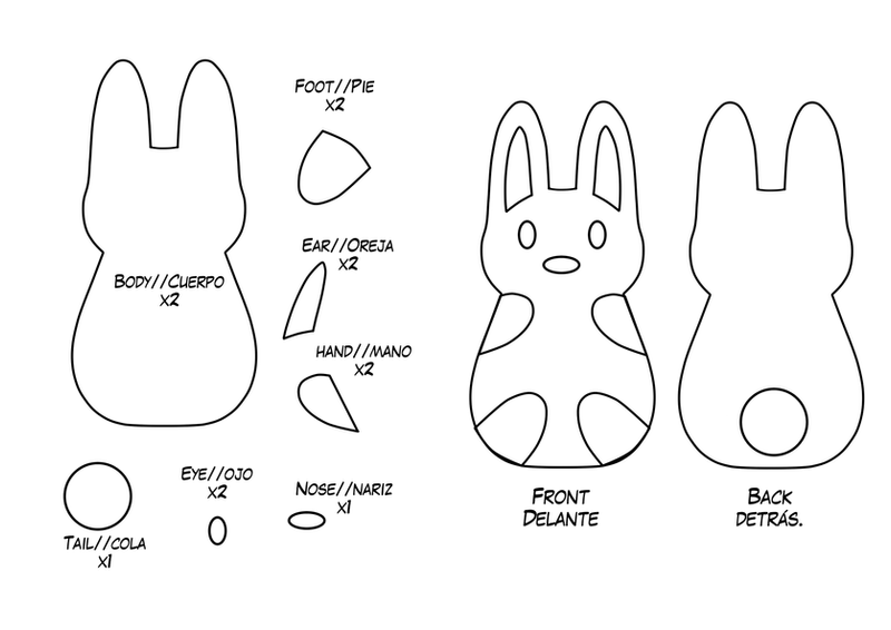 Stuffed animal pattern bunny images for Bunny template for sewing