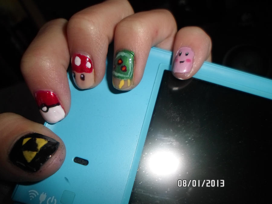 Nintendo nails :3 by SpaceRaccoon on DeviantArt