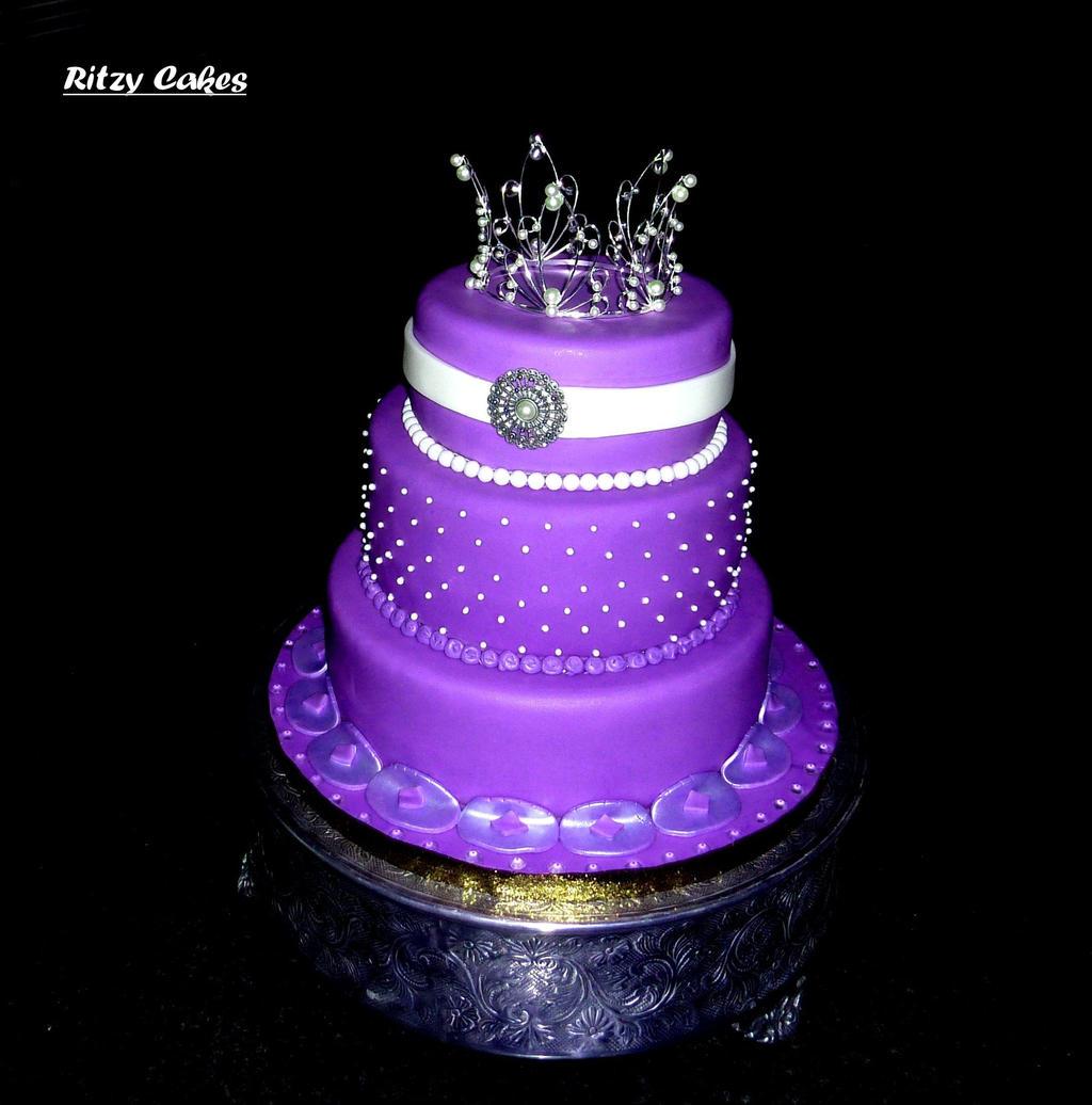 Purple Princess Wedding Cake by ritzycakes on deviantART