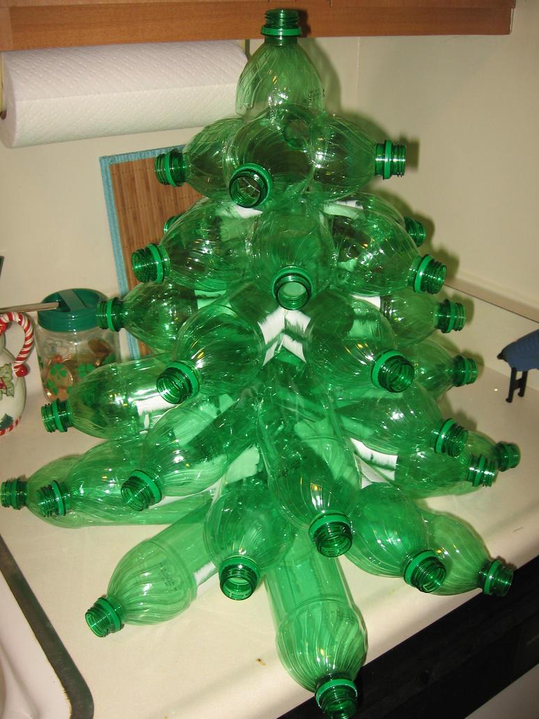 Plastic bottle christmas tree step by flood on