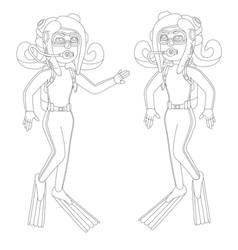 Enemy Octoling Pair Scuba Lines Wetsuits