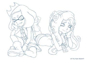 Splatoon 2 - Pearl and Marina (lineart)