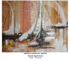 Abstrato Figurativo Barcos- 40x50 - 100,00