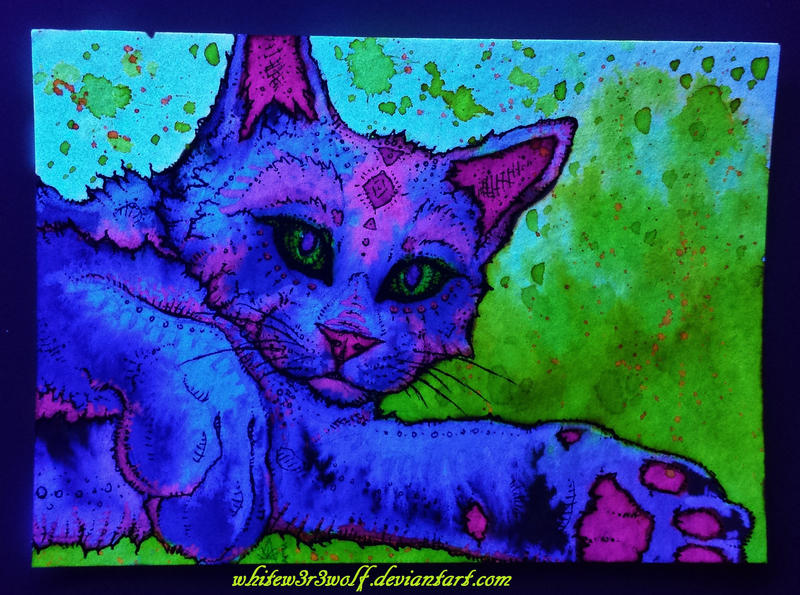 Psychedelic Cat Glow~ :for sale: by whitew3r3wolf on ...