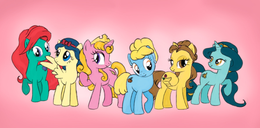 Disney princess ponies by Aldriona