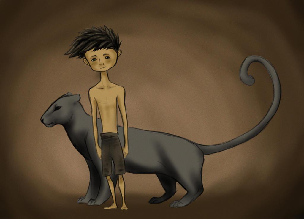 Mowgli and Bagheera by bergrun