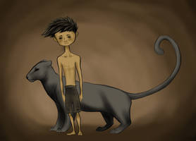 Mowgli and Bagheera by bergrun