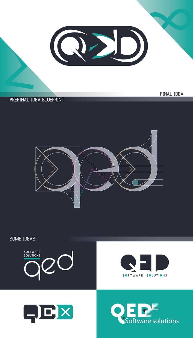 Q.E.D. logo - idea sheet by model850
