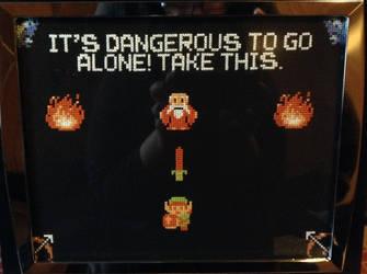 LoZ Dangerous to Go Alone Cross Stitch Picture