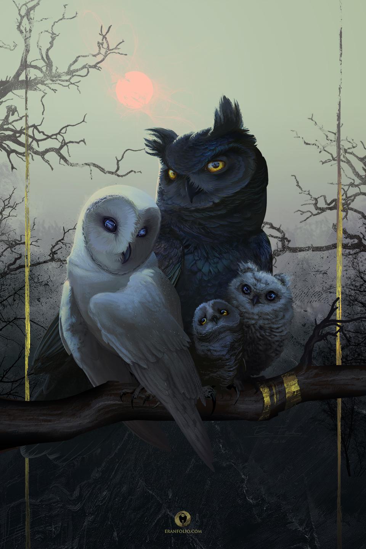 Owl Family Portrait by EranFowler
