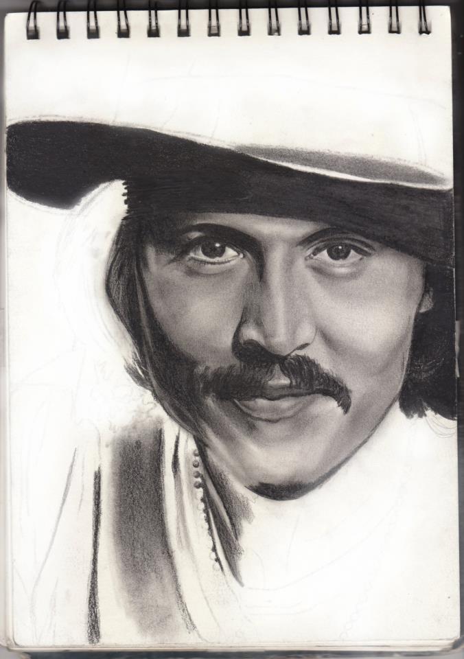 unfinished johnny depp portrait by rachdeart