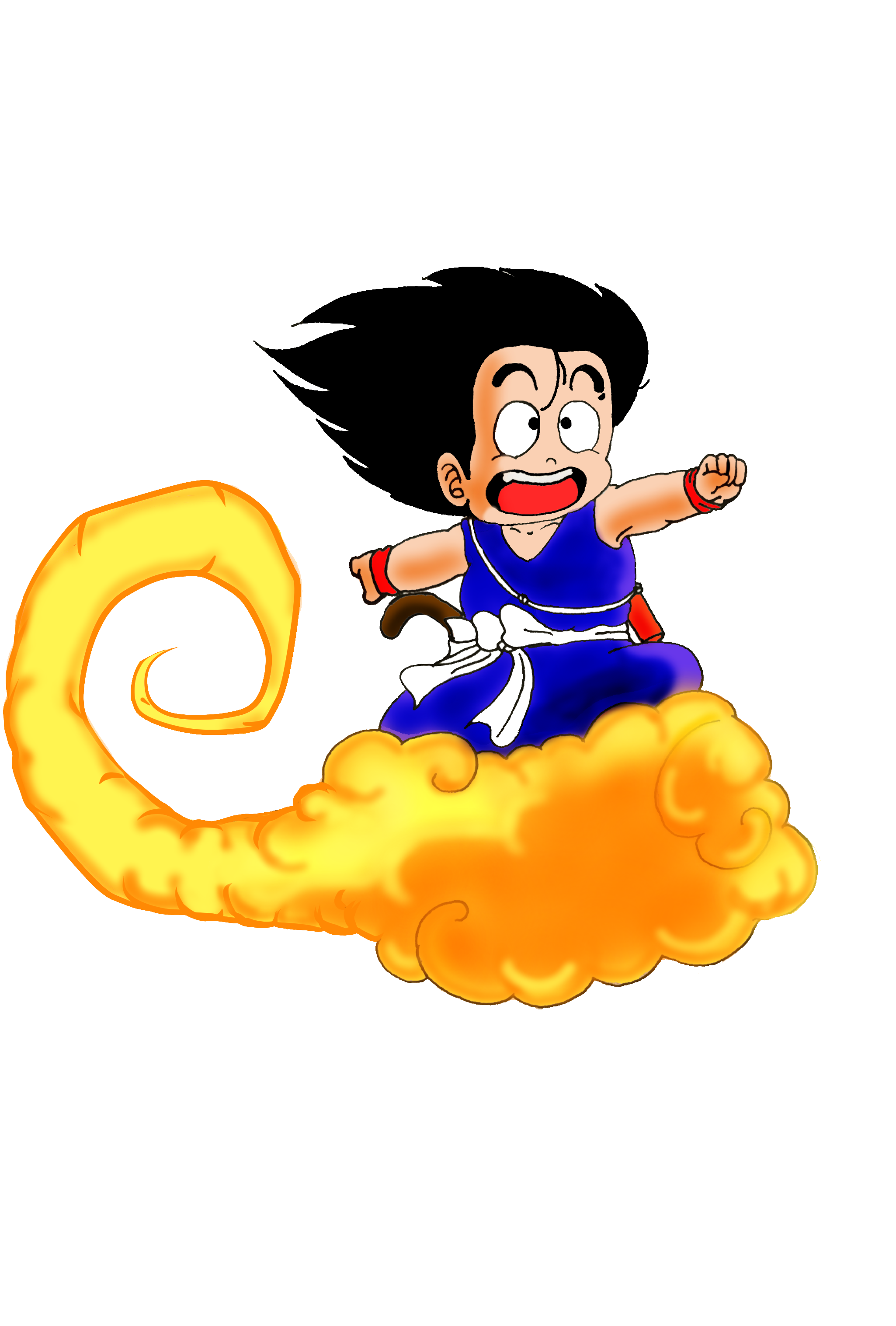 It's just an image of Clever Goku On Nimbus Drawing