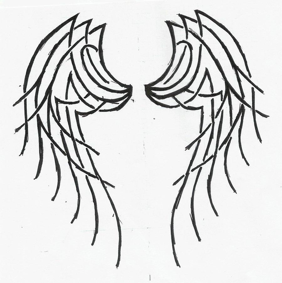 Tribal Angel Wings Tattoo