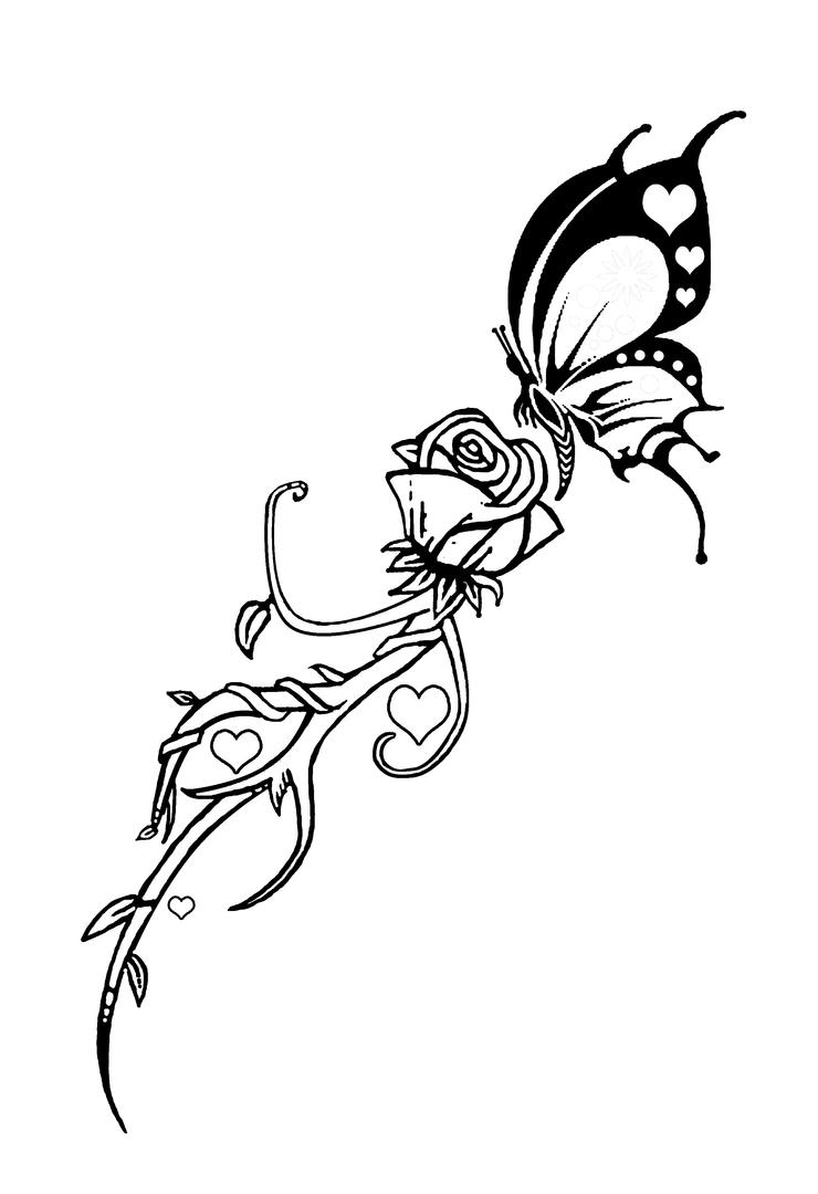 Line Drawing Butterfly Tattoo : Butterfly and rose tattoo by dvco on deviantart