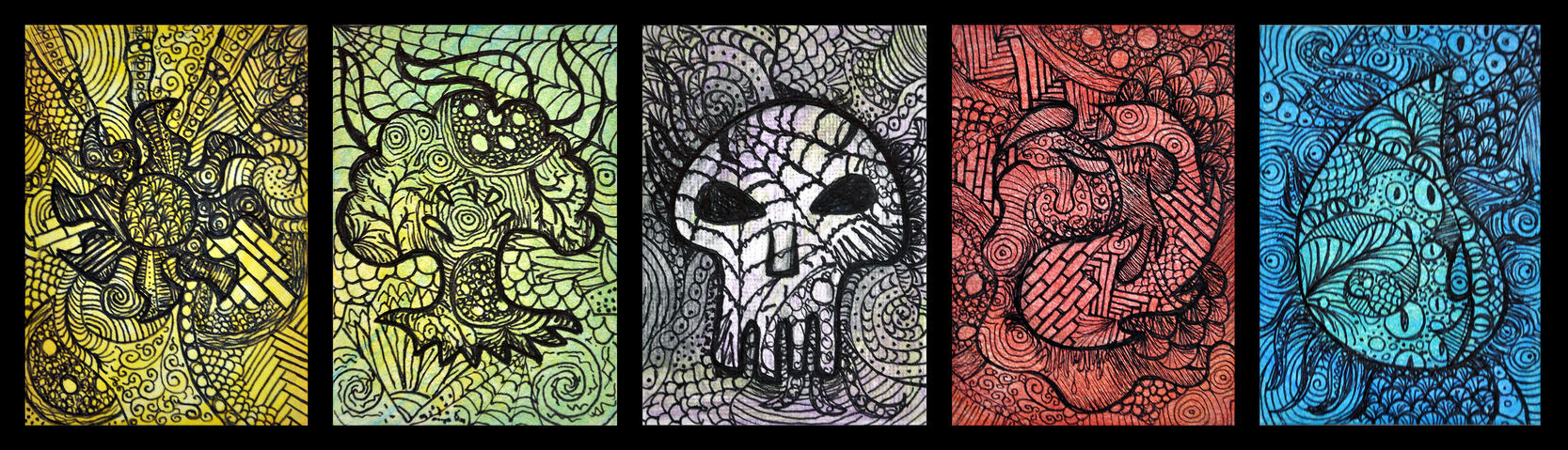Magic the gathering zentanlge mana symbol atcs by hell0z0mbie on