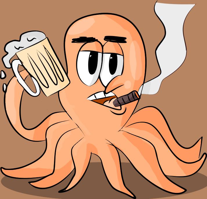 An Octopus Walks Into a Bar... by cartoonsbykristopher