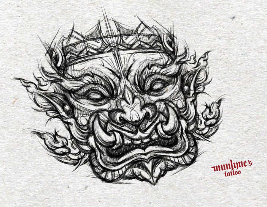 Line Drawing Yak : Yak tattoo design thai giant aka by munlyne on deviantart