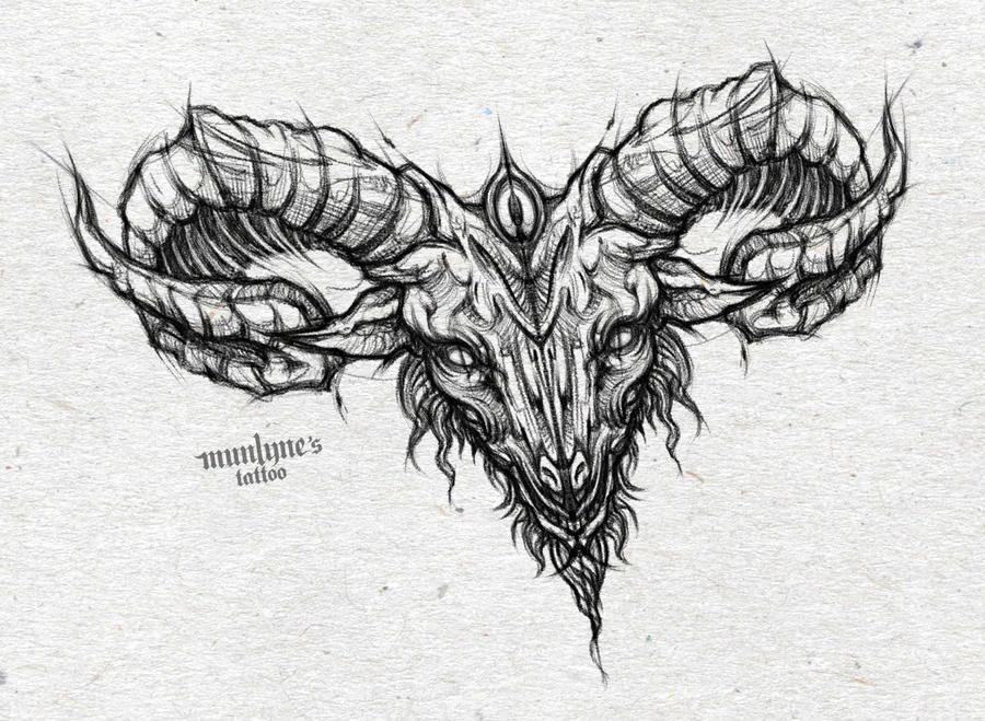 Goat tattoo design (chest piece) by munlyne on DeviantArt