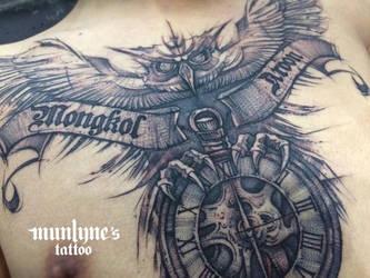 Munlyne's Owl Tattoo in details by munlyne