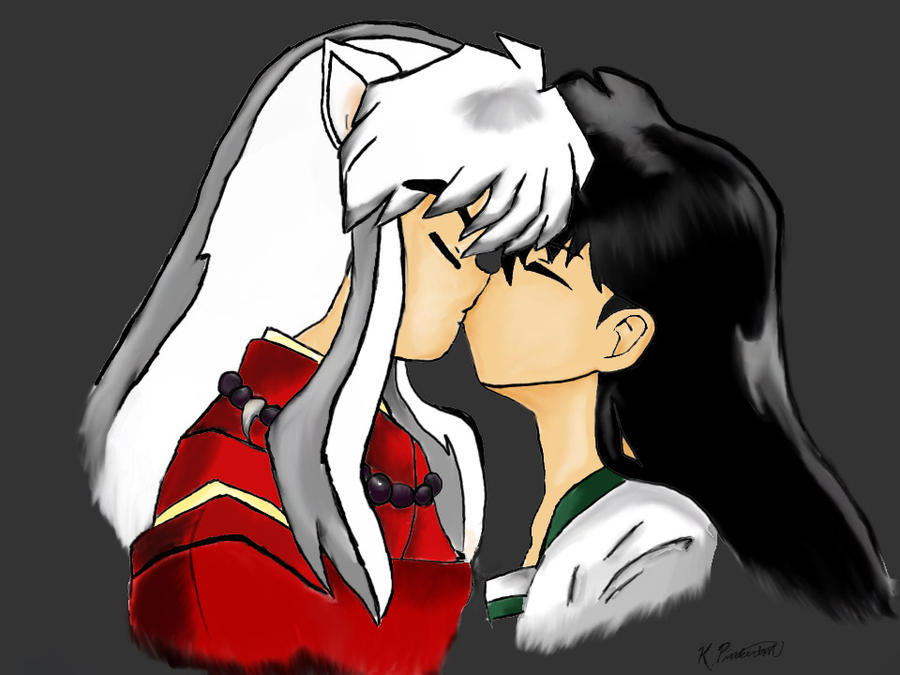 Inuyasha and kagome kiss by LightingDarkness on DeviantArt