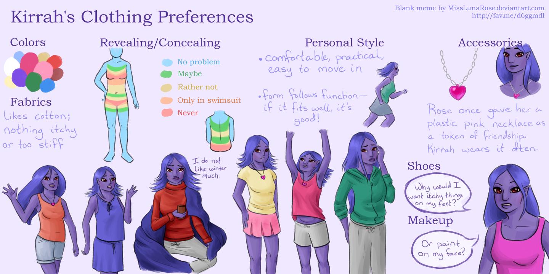 Kirrah's Clothing Preferences by MissLunaRose