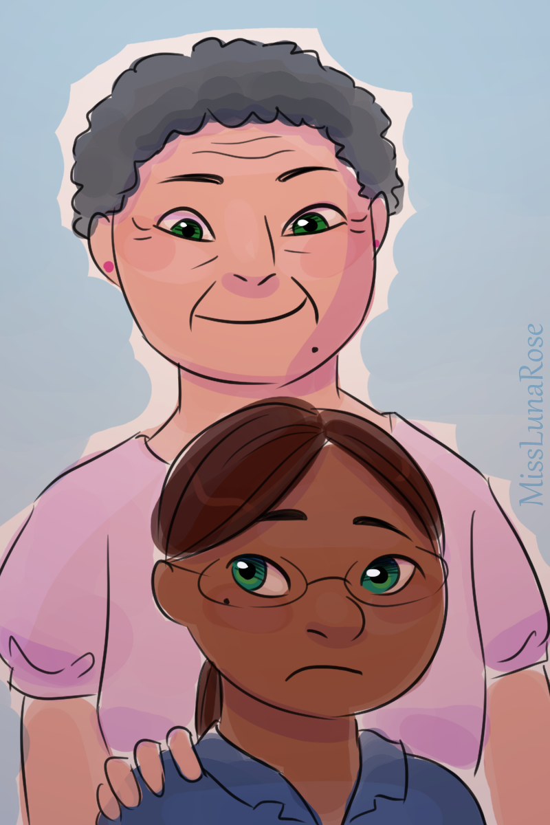 Doodle of an overbearing granny smiling at her uncomfortable teen granddaughter