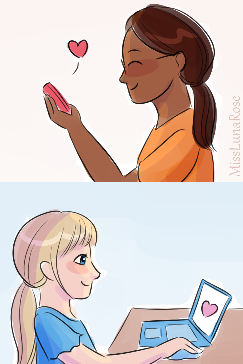 A doodle of two cheerful girls sending each other messages online