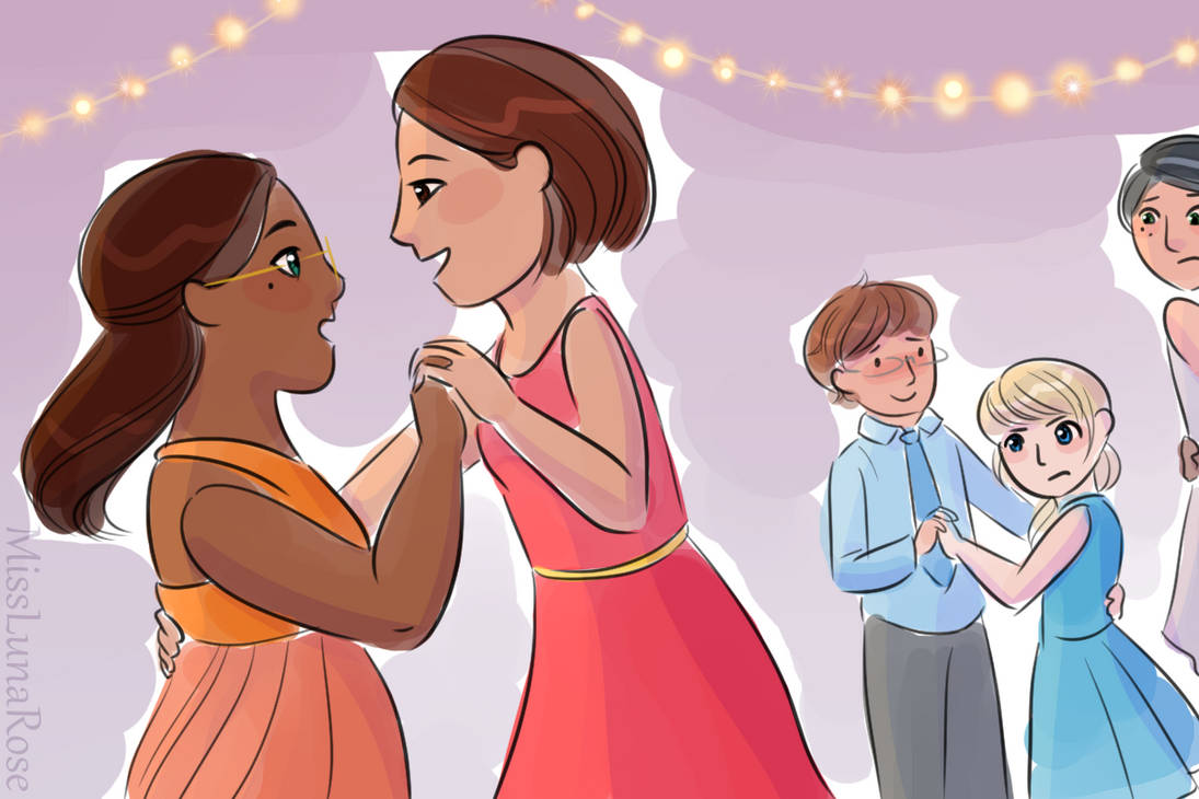 Zoey dances with a pretty girl at a party. Her cousin watches suspiciously, afraid that this mystery girl will take advantage of Zoey.