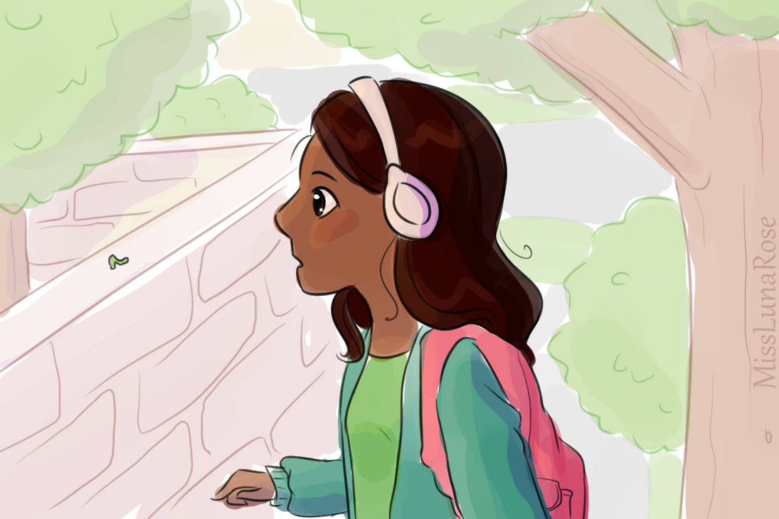 Doodle of an autistic girl in headphones outdoors looking at an inchworm on a wall