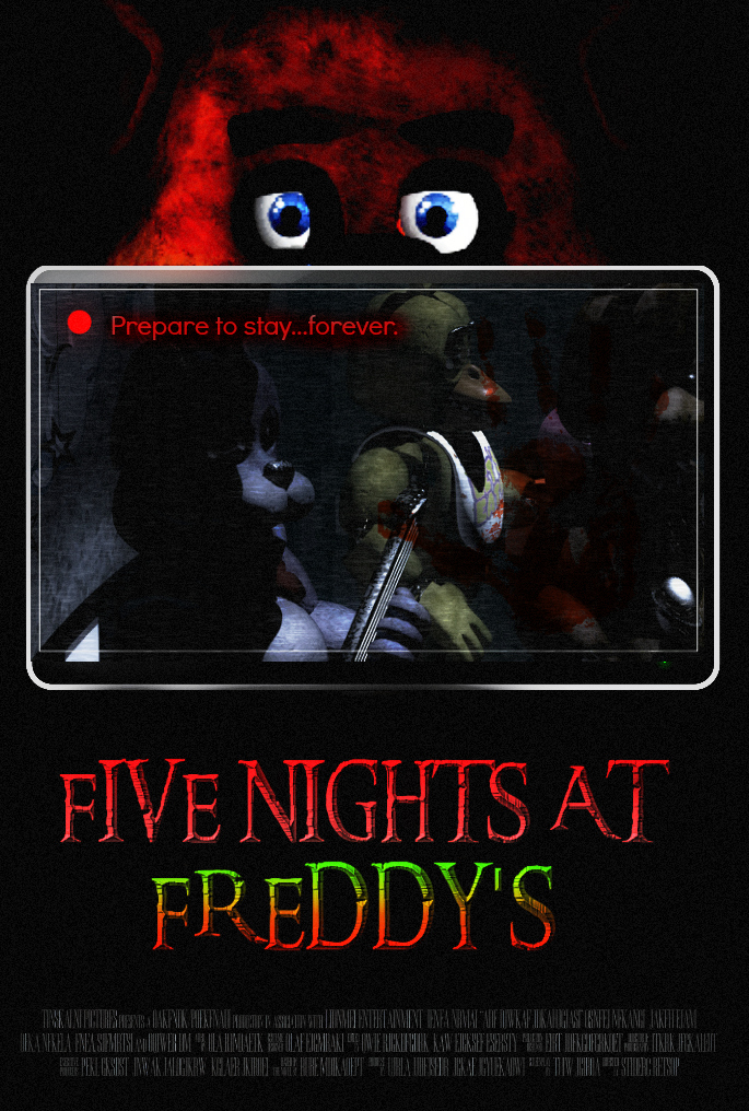 Five nights at freddy s video game movie poster by thedarkrinnegan on