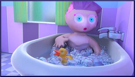 Taking a bath