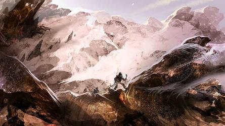 Climbing Io's volcano by vyle-art