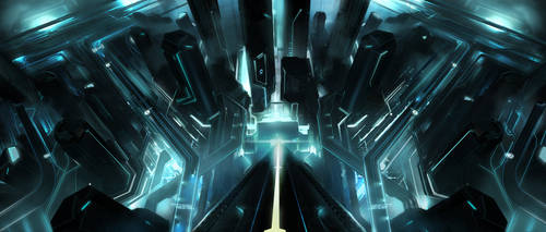 Tron Legacy Under the tower by vyle-art