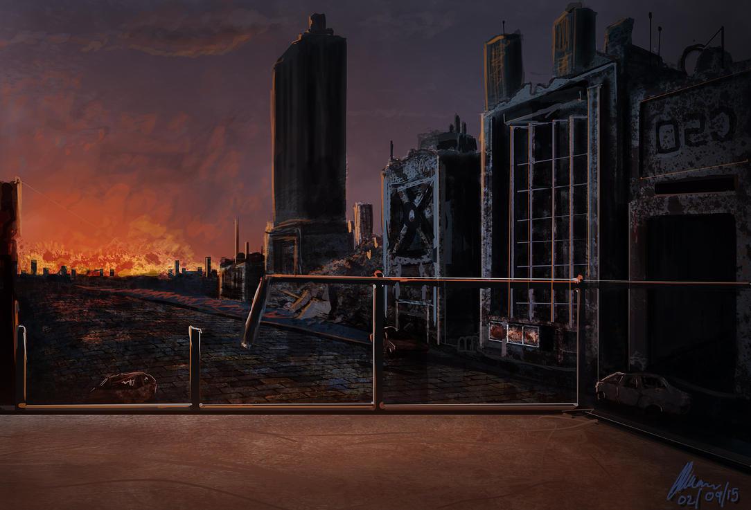 Burning city by Vorseth