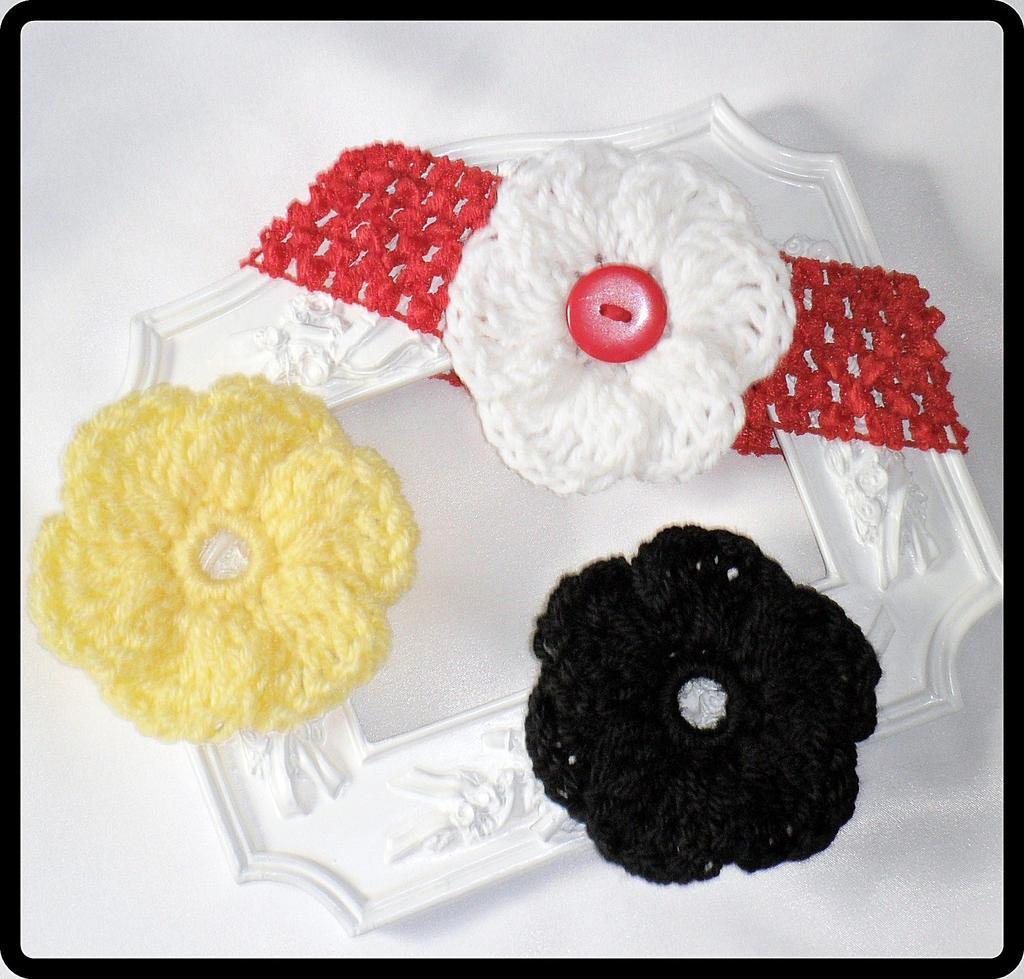 Interchangeable Crochet Flower Pattern : Baby Crochet Interchangeable Flower Headband by ...