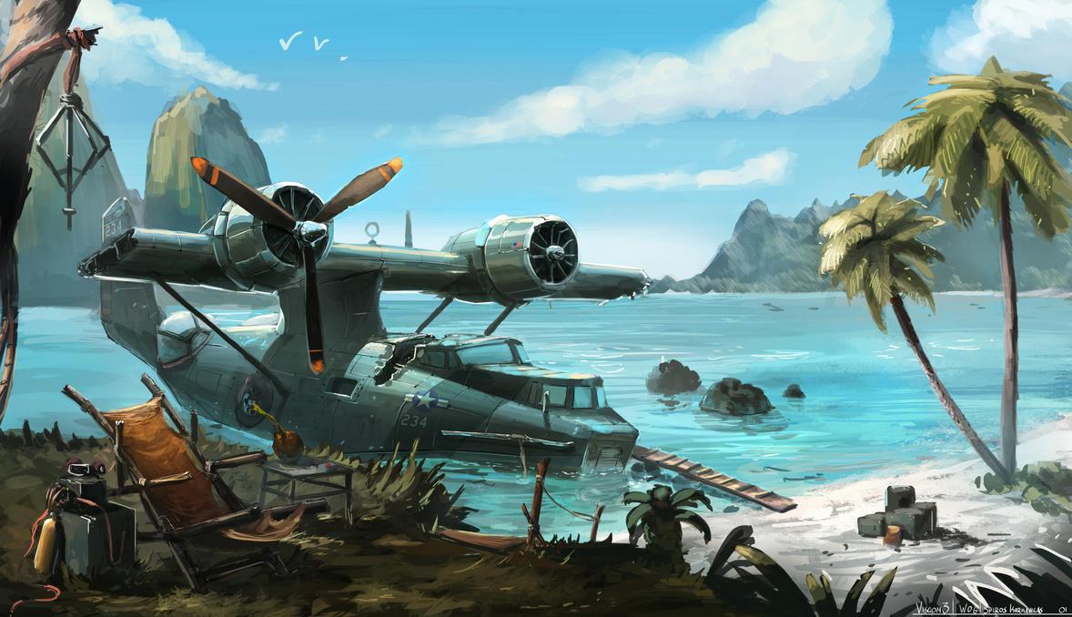 PBY catalina stranded by Aisxos