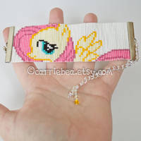 Fluttershy 1.5 inch Beaded Bracelet by CarrieBea