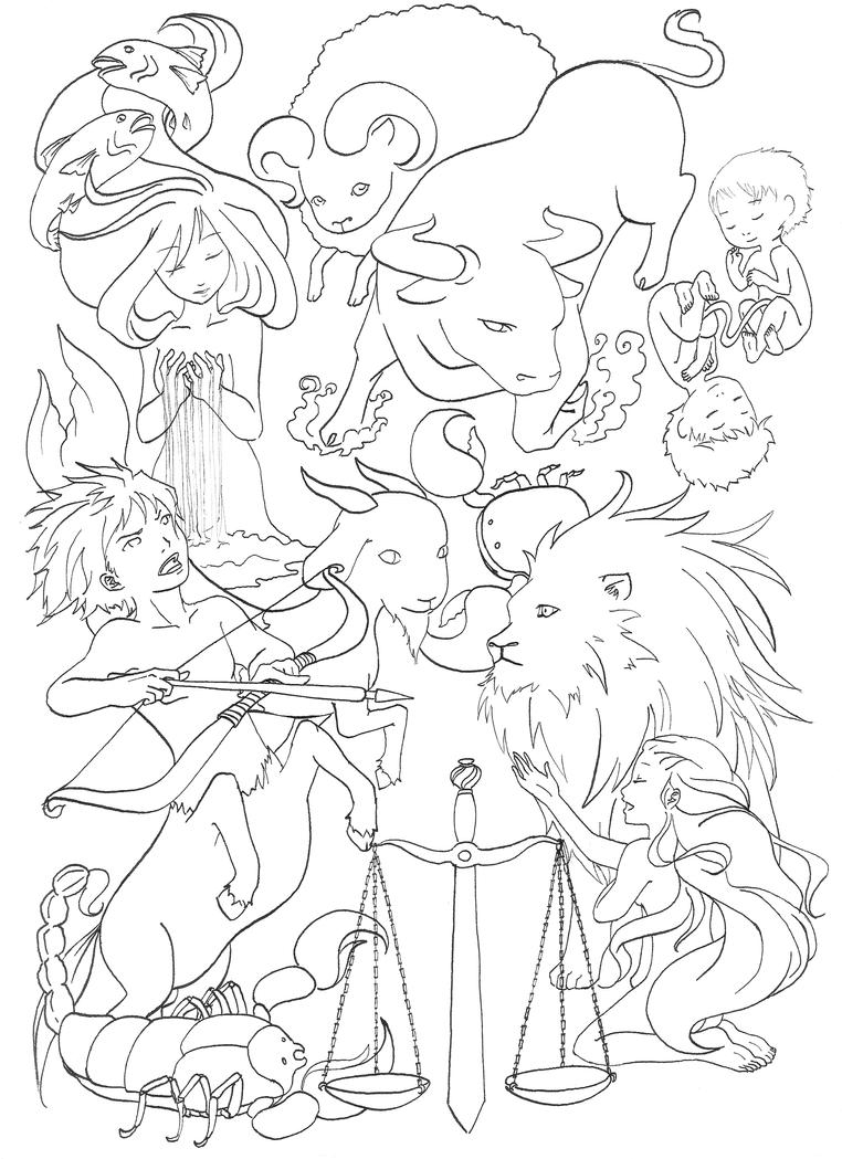 Zodiac Line Art : Zodiac by bymebehappy on deviantart