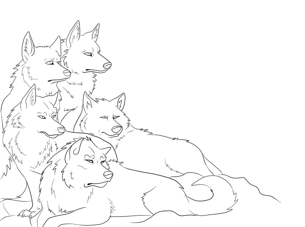 Wolf Lineart : Wolf pack lineart by simatra on deviantart