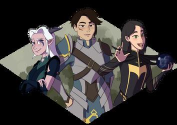 Rayla, Amaya, and Claudia (The Dragon Prince) by Simatra