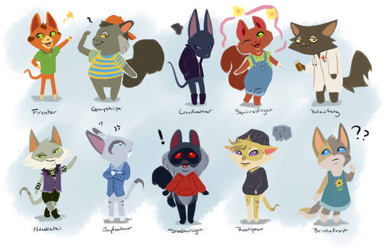 Warrior Cats as Animal Crossing villagers