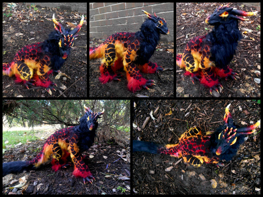 Handmade Poseable Volcano Dragon by KaypeaCreations