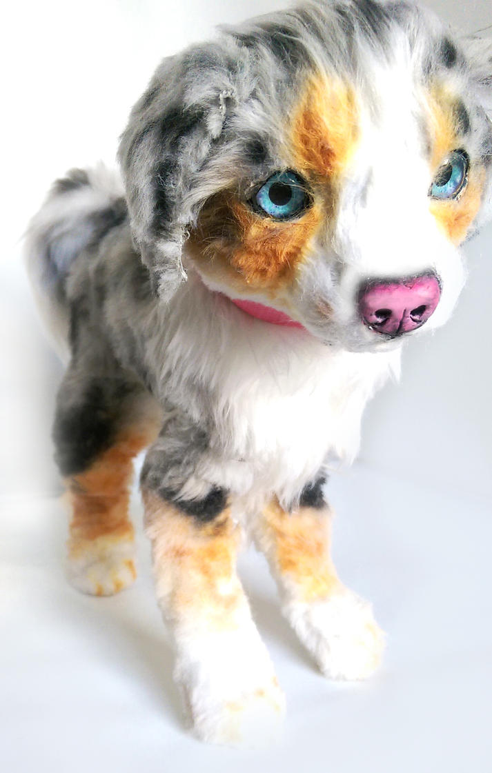 Handmade Poseable Australian Shepherd Pup by KaypeaCreations