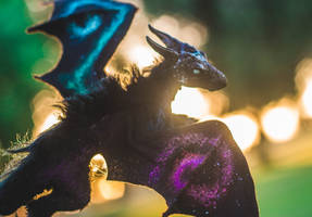 Handmade Poseable Mini Galaxy Dragon Art Doll by KaypeaCreations