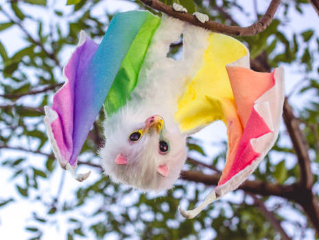 Handmade Poseable Rainbow Bat Art Doll
