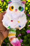 Handmade Poseable Rainbow Raccoon Art Doll