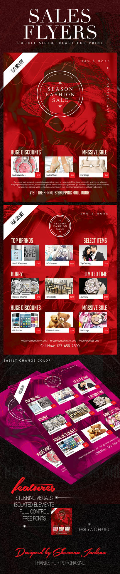 Sales Discount Shopping Flyers by ShermanJackson