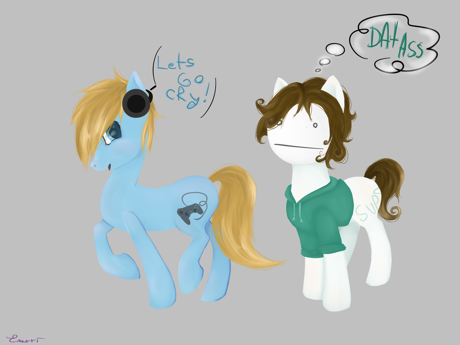 Pewdiepie and Cry Ponies by EmilieArts on DeviantArt