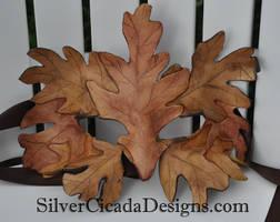 Green Man Mask Fall Oak King by SilverCicada